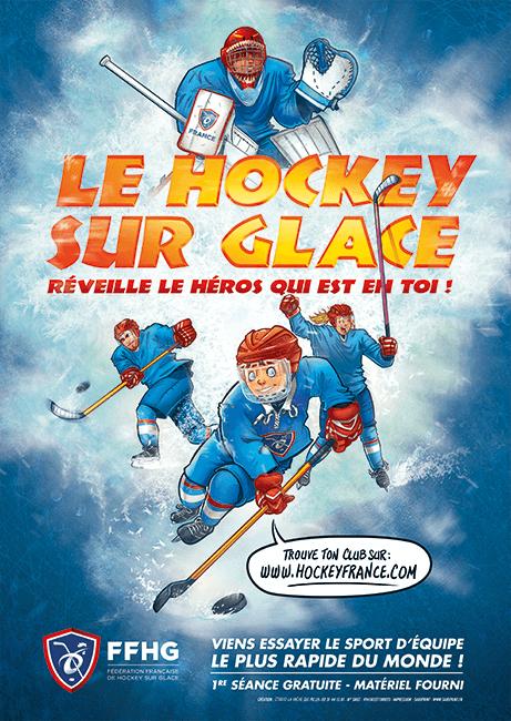 Création d'une affiche sur le hockey mineur pour la fédération francaise de hockey sur glace