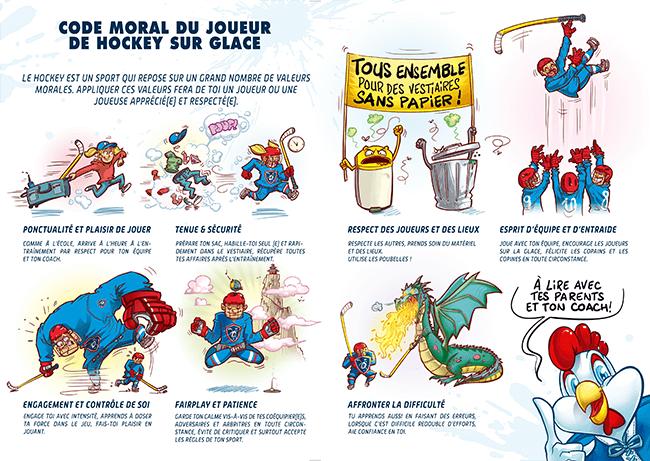 illustrations représentant l'ensemble des codes moraux du joueur de hockey